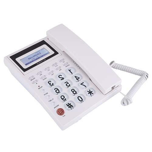 Teléfono con Cable con contestador automático, teléfono con Cable con extensión de Altavoz para el hogar para la Oficina(Blanco)