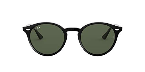 Ray-Ban RB2180 Polarized Round Sunglasses, Black/Green, 49 mm