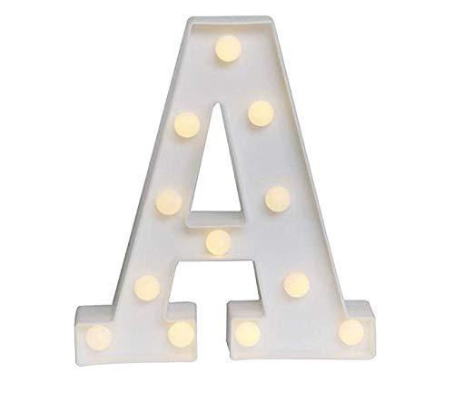 Yuna Lettere Luminose LED Lettere Decorative a LED Lettere dell'alfabeto Bianco (A)