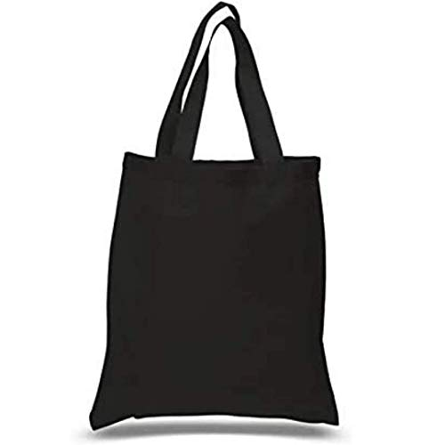 (Pack - 15) Black Color Reusable Cotton Canvas Tote Bags, 6 Oz. Useful as Grocery Tote Bag, Cotton Tote Shopping Bag, DIY Crafts, Gift Tote Bag For Wedding, Birthday, Promotion Giveaways