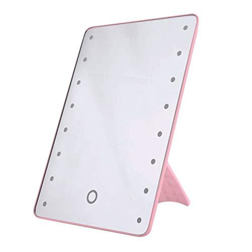 SOLUSTRE Espejo de Maquillaje de Escritorio Espejo de Maquillaje Plegable Espejo de Princesa Simple Portátil Espejo Cuadrado Espejo de Maquillaje para Mujeres Niñas (Rosa)