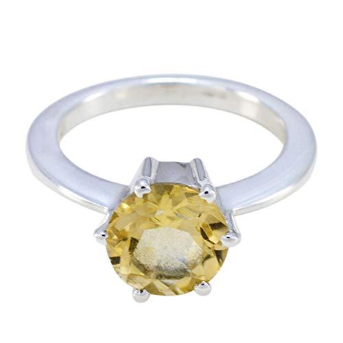 joyas plata gemas genuinas forma redonda una piedra anillo citrino facetado - anillo citrino amarillo de plata de ley 925 - nacimiento de junio géminis