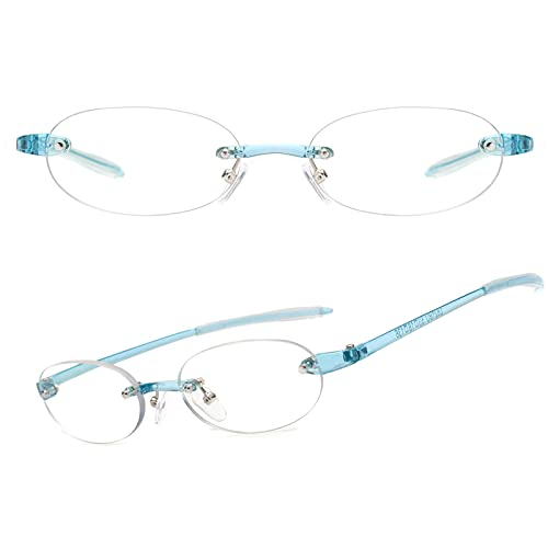 JIMMY ORANGE 老眼鏡 軽い おしゃれ ブルーライトカット リムレス 縁なし メンズ レディース 携帯用 軽量 リーディンググラス ブルー 度数+300 JO621