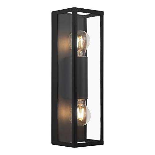 EGLO Wandlampe Amezola, 2 flammige Wandleuchte Industrial, Vintage, Wandleuchte innen aus Stahl und Glas, Wohnzimmerlampe, Flurlampe in Schwarz, Klar, Badezimmer Lampe mit E27 Fassung, IP44