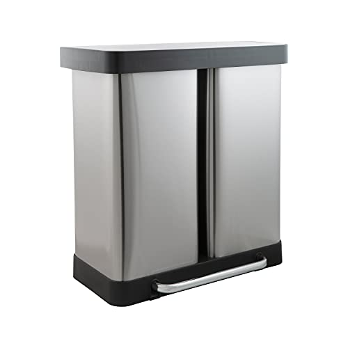 Organize It All Neu Home 60 L Dual Compartment Recycling Bin, Silver