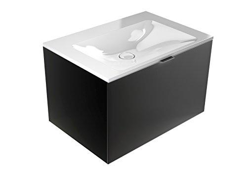 emco monolith Waschtisch mit Unterschrank ohne Armaturbohrung Schwarz 717 mm