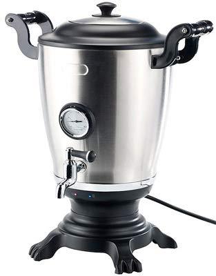 Monsterzeug Samowar aus Edelstahl, Teekocher, Teemaschine und Wasserkocher, Samovar elektrisch, Heizspirale, Thermometer, Abschaltautomatik, Warmhaltefunktion, inklusive Teekanne mit Sieb