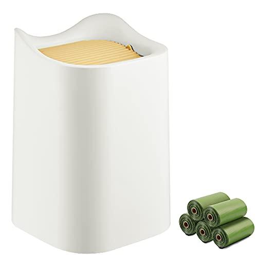 MEEQIAO Cubo de Basura de Mesa con Tapa Abatible, & 75pcs Bolsas de Basura Ambiental degradables, para Maquillaje, Lápiz, Oficina, Hogar, Escritorio, Baño, Sala de Estar (Blanco)