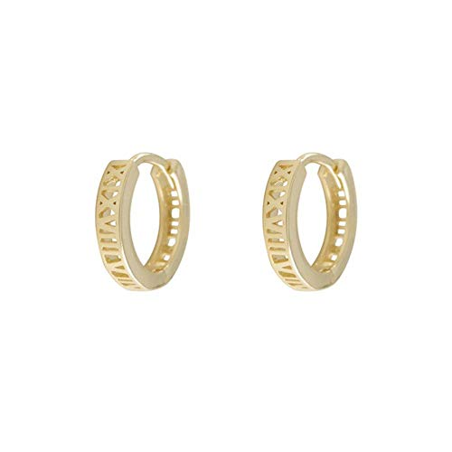 925 Sterling Silver Roman Numeral Circle Geometric Hoop For Women Retro Gold Silver Ear Accessories S-E1442-golden