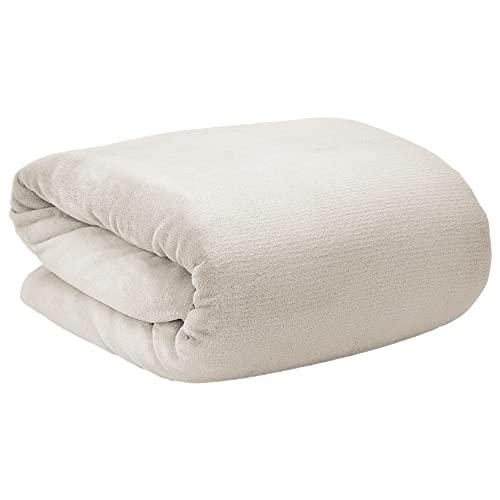 Beautissu Aurelia Kuscheldecke 220x240 cm – Flauschige Wohndecke für Sofa, Couch und Bett - Microfaser Fleecedecke als Tagesdecke oder Sofa Überwurf - weiche Wohnzimmerdecke XXL – Natur