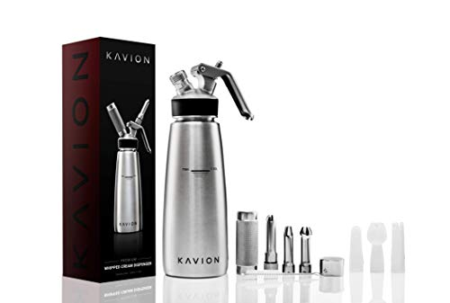 Professional Stainless Steel Whipped Cream Dispenser | 6 Decorating Tips | 500ml/ 1 Pint Canister | Leak Free Seals | 8g N2O (Not Included) | Silicon Grip for Easy Handling | Kavion