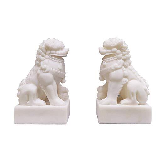 DCLINA Feng Shui Un par Leones Chinos Piedra, par estatuas Perros Fu Foo, guardián Blanco, decoración, para el hogar y la Oficina, atrae Riqueza y Buena Suerte