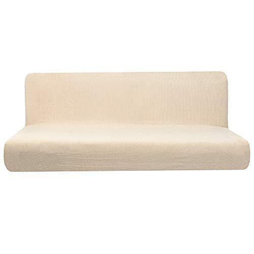LOVIVER rutschfeste, Armlose Sofa Abdeckung, Vollständig Ausklappbares Schlafsofa, Beige L