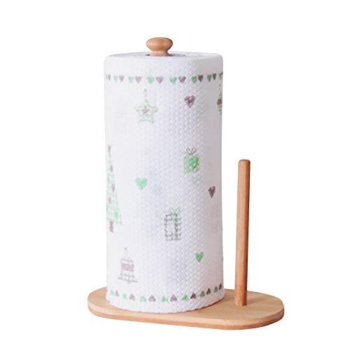 IBLUELOVER - Soporte para rollo de cocina de bambú para papel de madera, dispensador vertical de papel de rollo de papel para tamaño estándar