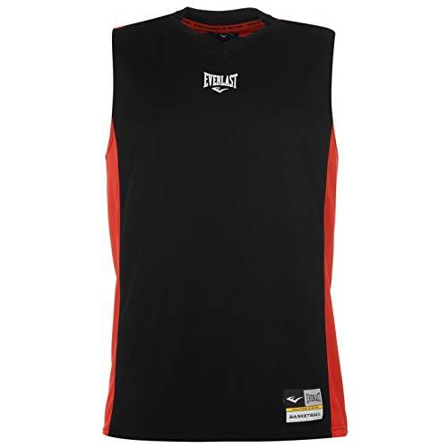 Everlast Herren Basketball Jersey V-Ausschnitt Aermellos Sport Training Top Black/Red XL