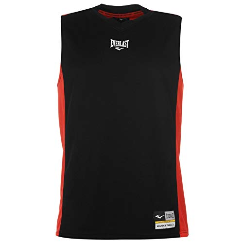 Everlast - Camiseta de baloncesto para hombre con cuello en V negro/rojo XL