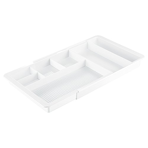 iDesign Clarity Kosmetik Organizer, ausziehbare Schubladenbox aus Kunststoff, weiß
