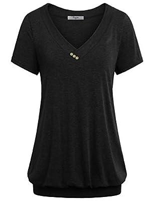Cestyle Women's V Neck Short Sleeve Banded Hem T Shirt Tops