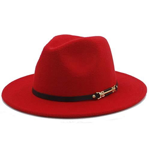 Unisex Retro Wollfilz Fedora Hut mit breiter Krempe Elegante Mütze für Lady Gangster Trilby Godfather