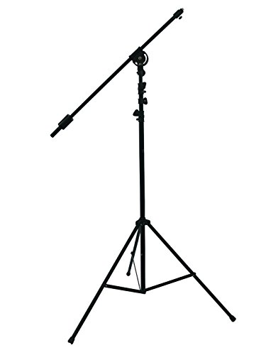 Pie para micrófono overhead, altura ajustable (máxima 3,90m), negro - soporte de micrófono - Soporte para micrófono / Trípode con jirafa - showking