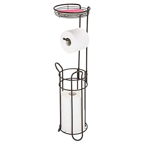 mDesign Toilettenpapierhalter ohne Bohren – Klorollenhalter fürs Badezimmer – Papierrollenhalter für vier Rollen mit Ablage – bronzefarben