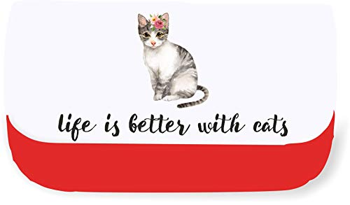 Meow Watercolour cat Eight Life is Better with Cats Clutch Style Pencil case - Red