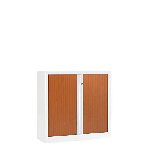 Armoire Monobloc à rideaux ignifuge M2 | Blanc | Merisier | HxLxP 1000 x 1000 x 430 | Pierre Henry -