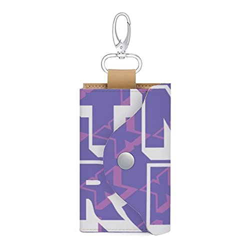 Estuche para llaves de cuero con 6 llaves, con diseño de violencia doméstica, con texto en inglés NOT HER Stop the violence