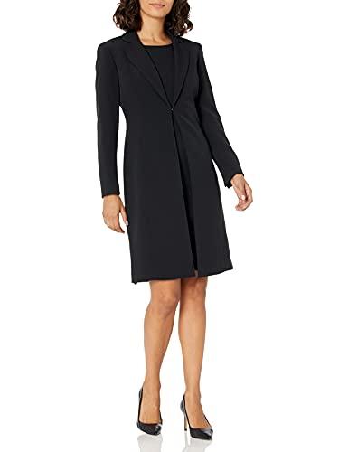 Le Suit Women's Crepe Long Coat & Basic Sheath Dress, Black, 16