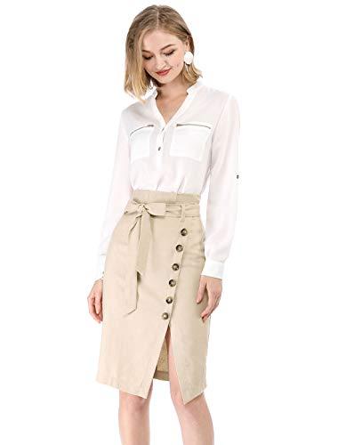 Allegra K Women's Button Decor Split Belted Smocked Vintage Short Pencil Skirt XS Beige