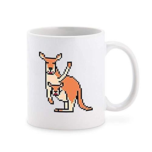 N\A Caricatura de Personaje de Videojuego de Estilo Retro de la Vieja Escuela - Canguro y Joey Taza de café Taza de té Novedad Tazas de Regalo 11 oz