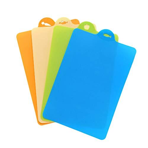 Besonzon Silikon-Schneidebrett, flexibel, bunt, rutschfest, lebensmittelecht, antimikrobiell, ungiftig, zufällige Farbauswahl, 4 Stück