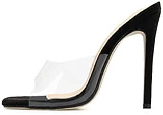 Sexy Black Apricot High Heels Women Peep Toe PVC Clear Heels Slip-on Sandals Stilettos Slipper