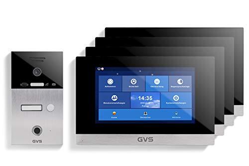 GVS AVS5058U - Videoportero de 4 cables/IP, IP65, RFID, Fingerprint, 4 monitores de 10 pulgadas, App, cámara HD de 120 °, apertura de puerta, 32 GB de memoria, conmutador PoE, 1 juego familiar