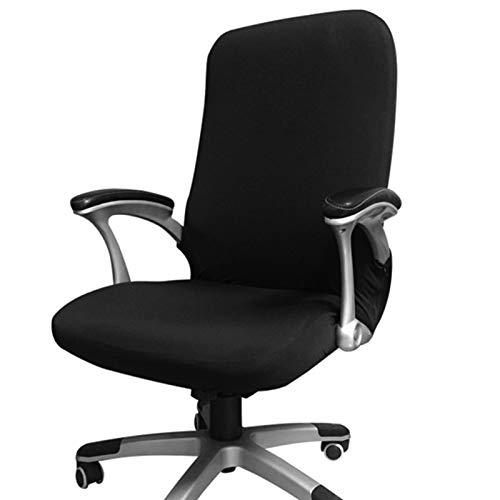 Funda para silla de oficina, repuesto universal para silla giratoria con reposabrazos, extraíble, ajustable, tela, negro, Large