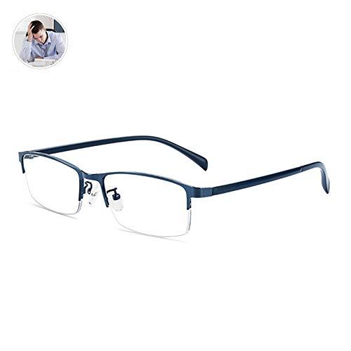 HQMGLASSES Männer Neue High-Definition-Anti-Blaue Licht multifokale Lesebrille, progressiv asphärische Linse Harz Metall Geschäftsgestellbrille +1,0-+3,0,Blau,+0.5