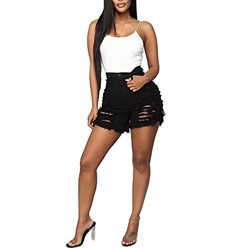 S-UN Denim Kurze Hose Mode Shorts Basic Waschung Denim Kurze Hosehohe Taille Jeans ÜBergrößE mit Quaste Ripped Loch Hotpants Sommer Jeansshorts