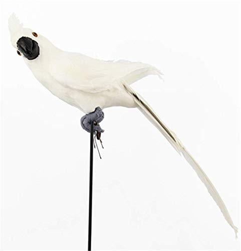 GaoF Kreative 45Cm Simulation Papagei über der Gartenmauer Zaun Vogel Dekor Feder Rasen Schaum Figur Ornament Tier Prop Dekoration 45X10Cm Weiß