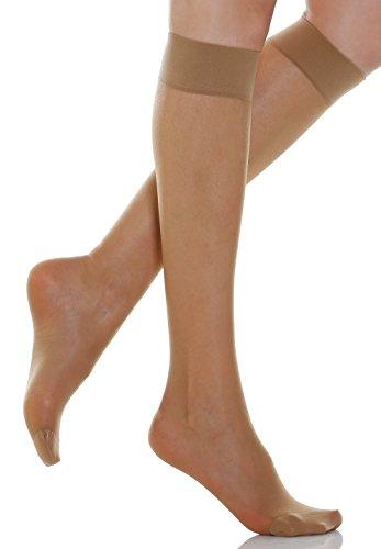 Relaxsan Basic 700[N] (1 Par - Visón, tg.3) Medias a la rodilla 70 Den de compresión graduada sin talón 12-17 mmHg