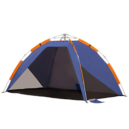 Outsunny Strandmuschel, Strandzelt, Pop up Campingzelt, Netzfenster, Tragetasche, 2-3 Personen, Fiberglas, 210 x 140 x 120 cm
