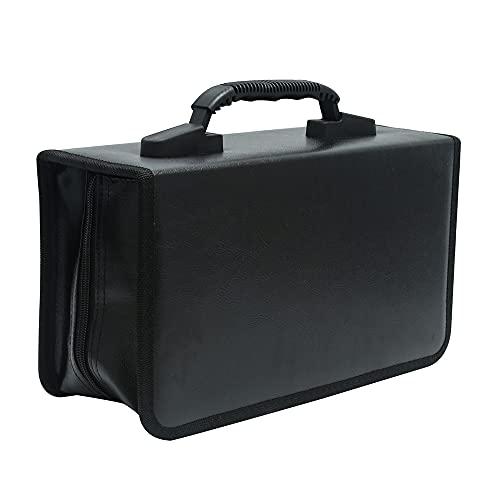 Siveit CD/DVD 収納バッグ 128枚 ハンドル付き 持ち運び便利 小型 車 旅行 自宅 オフィス用 (ブラック レザー)