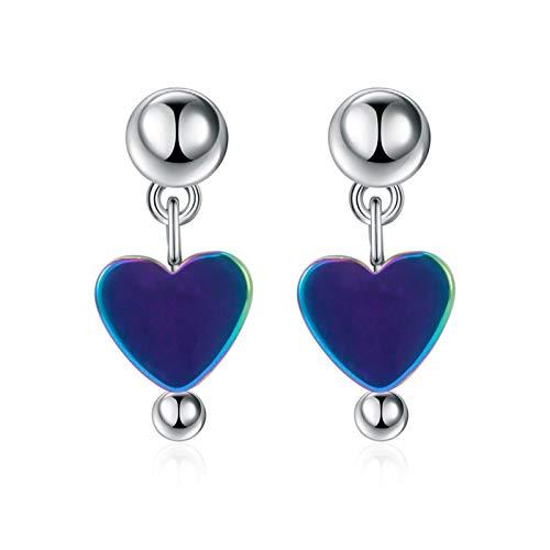 WEIXINMWP Peas earrings girls cute heart-shaped earrings super fairy sweet Korean silver-plated accessories earrings