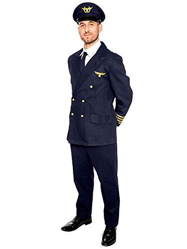 Maskworld Realistisches Piloten Kostüm für alle Flugzeugführer - Verkleidung Uniform Anzug für Flugzeugführer - Karneval Fasching Halloween & Mottoparty - Größe L