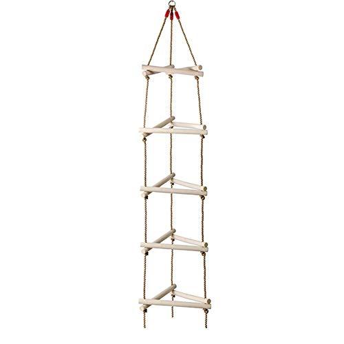 Strickleiter 3D Dreieck Kletterleiter Schaukel Kinder Holzleiter Klettergerüst, 5 Sprossen, Bis 220lbs Belastbar