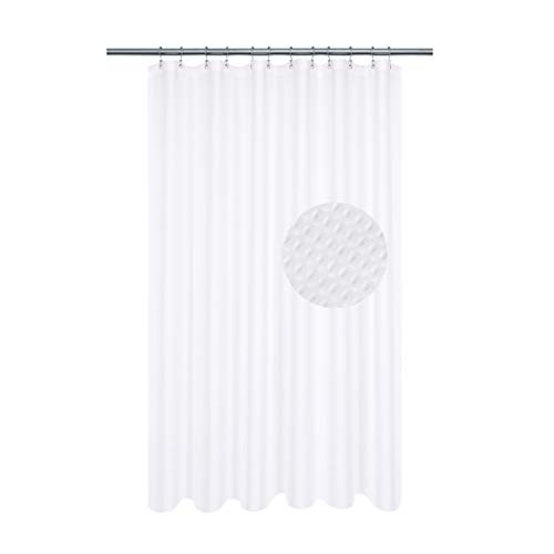 Longer Shower Curtain with 75 inch Height Fabric, Waffle Weave, Hotel Collection, Water Repellent, 230 GSM Heavy Duty, Machine Washable, White Pique Pattern Decorative Bathroom Curtain