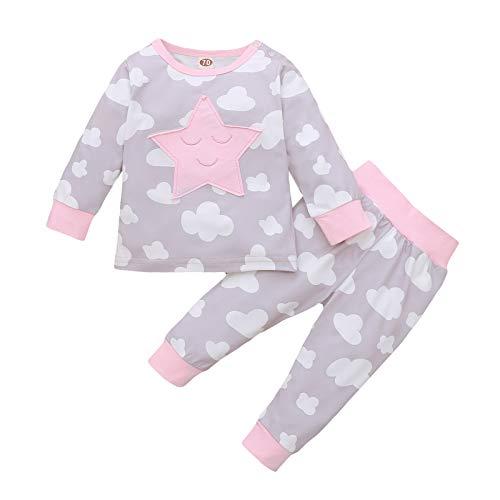 FeiliandaJJ Baby Mädchen Schlafanzug Sterne Wolken Mond Cartoon Pyjama Set Winter Frühling Langarm Zweiteiliger Schlafanzüge Mädchen Nachtwäsche (Grau, 90 (9-12 Monate))