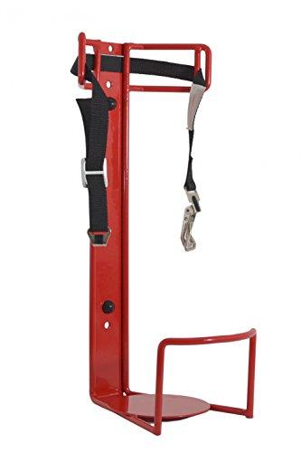 LKW und KFZ Halter für 6kg Feuerlöscher Stahl rot lackiert mit Spannband und Sicherheitsauflage