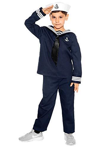 Maskworld Klassisches Matrosen Kinder-Kostüm - Verkleidung Uniform Anzug für kleine Seemänner - Fasching Karneval Mottopartys & Halloween - Größe 152