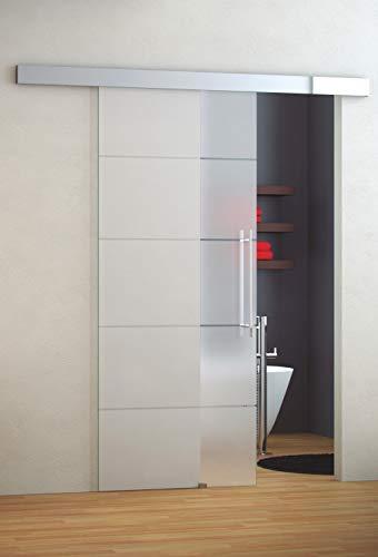 Puerta de Paso Ducha Baño Corredera en Cristal de 8 mm. Modelo CANDANCHU Perfil y componentes de Acero Inoxidable. Sujeta con Rodamientos Ocultos y Cristal Mate