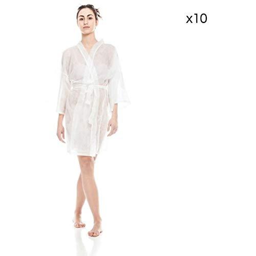 Kimono desechable blanco estetista, peluquería de TNT 10 unidades